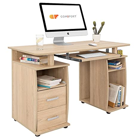 COMIFORT T05S - Mesa de Ordenador, Escritorio, Mesa de Oficina, 115x55x72 cm, Color Roble Sonoma