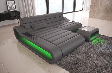 Piel Sofa Concept L Forma Pequeno Gris Amazon Es Hogar