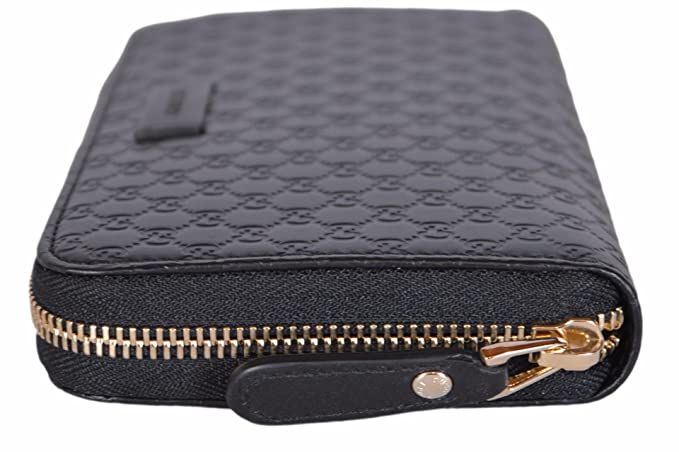 7bfc59905b92 Gucci Women's Leather Micro GG Guccissima Zip Around Wallet (Black) at  Amazon Women's Clothing store: