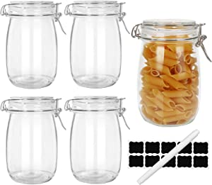 33oz Airtight Jars,Spice Jars, Leak Proof Storage Container Jar,Glass Food Jars with Labels & Chalkboard Pen and Silicone Gaskets, Set of 4