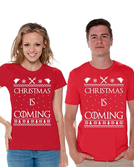 awkward styles christmas shirts for couples couple christmas is coming shirt christmas couples gifts red red