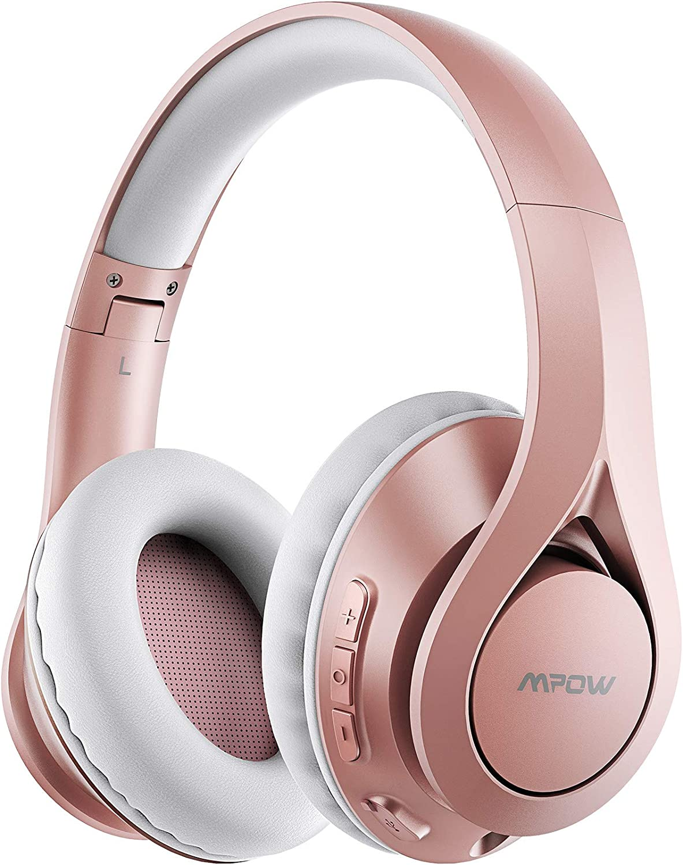 Mpow Bluetooth 5.0 Auriculares Over Ear, hasta 60 horas, Inalámbrico Over Ear con CVC 8.0 Micrófono, Hi-Fi, Plegable Over Ear Bluetooth Auriculares para iPhone/iPad/Android/portátiles