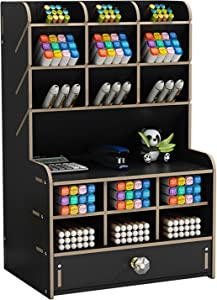 Marbrasse Wooden Pencil Pen Holder, Pen Organizer for Desk, 15 Compartments + Drawer, Desktop Stationary Organizer Caddy, Easy Assembly, Home Office Art Supply Organizer Storage (Black)