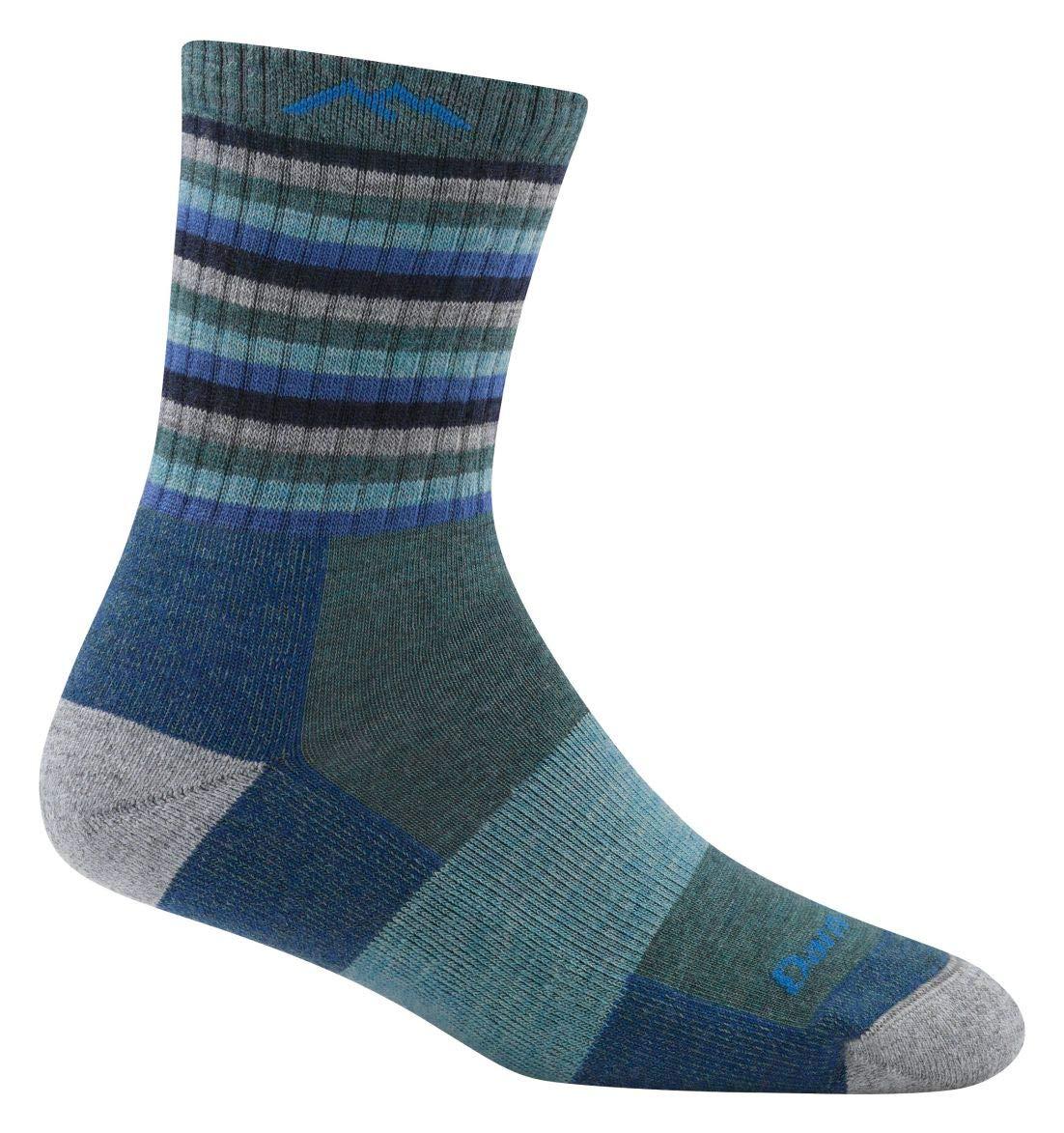 Darn Tough Hike/Trek Micro Cushion Stripe Crew Socks - Women's Aqua Stripe Large by Darn Tough