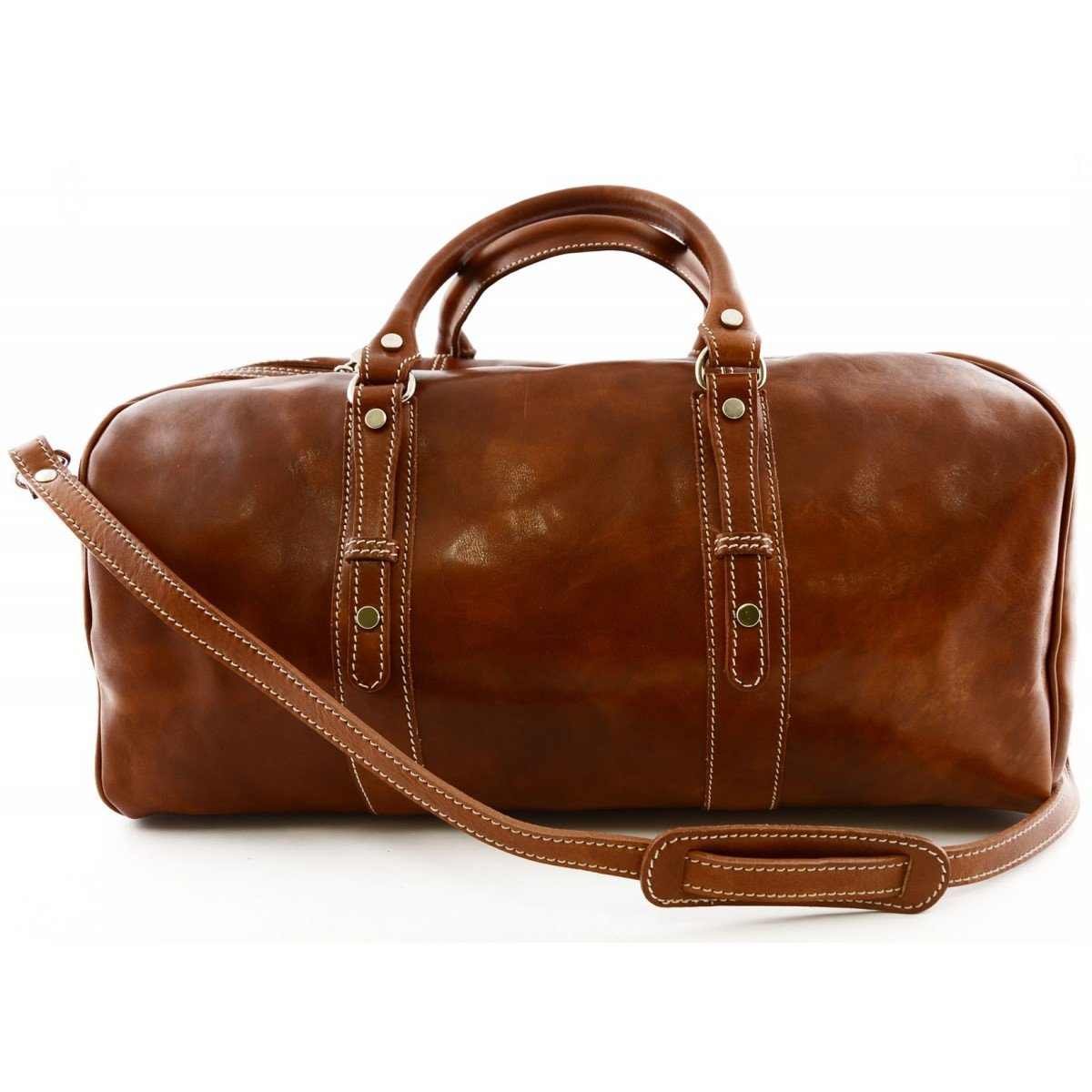 Made In Italy Genuine Leather Travel Bag With Studs Color Cognac - Travel Bag   B018W61RMI