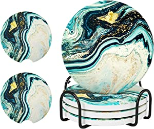 Coasters for Drinks Absorbent with Holder, Teal Marble Drink Coasters, Ceramic Stone Coasters for Desk Tabletop Protection ,4 Pack 4