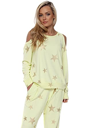 fd1881bff0a7e A Postcard From Brighton Belle Lemonade Gold Foil Star Cold Shoulder Sweater  M L Yellow