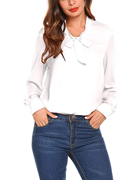 49b8a8e6b15180 zhenwei Women Chiffon Blouses Long Sleeve Tops Ladies Elegant School Work  Bow Tie Neck Shirt Black White Blue  Amazon.co.uk  Clothing
