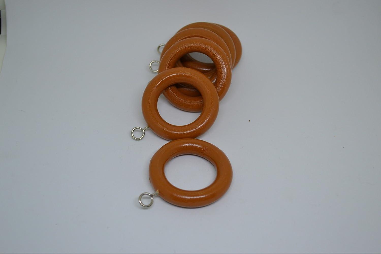 COSMALL @ 6 x木製カーテンフックリングポールロッドリング28MMセット - BROWN   B07B6TJ6CJ