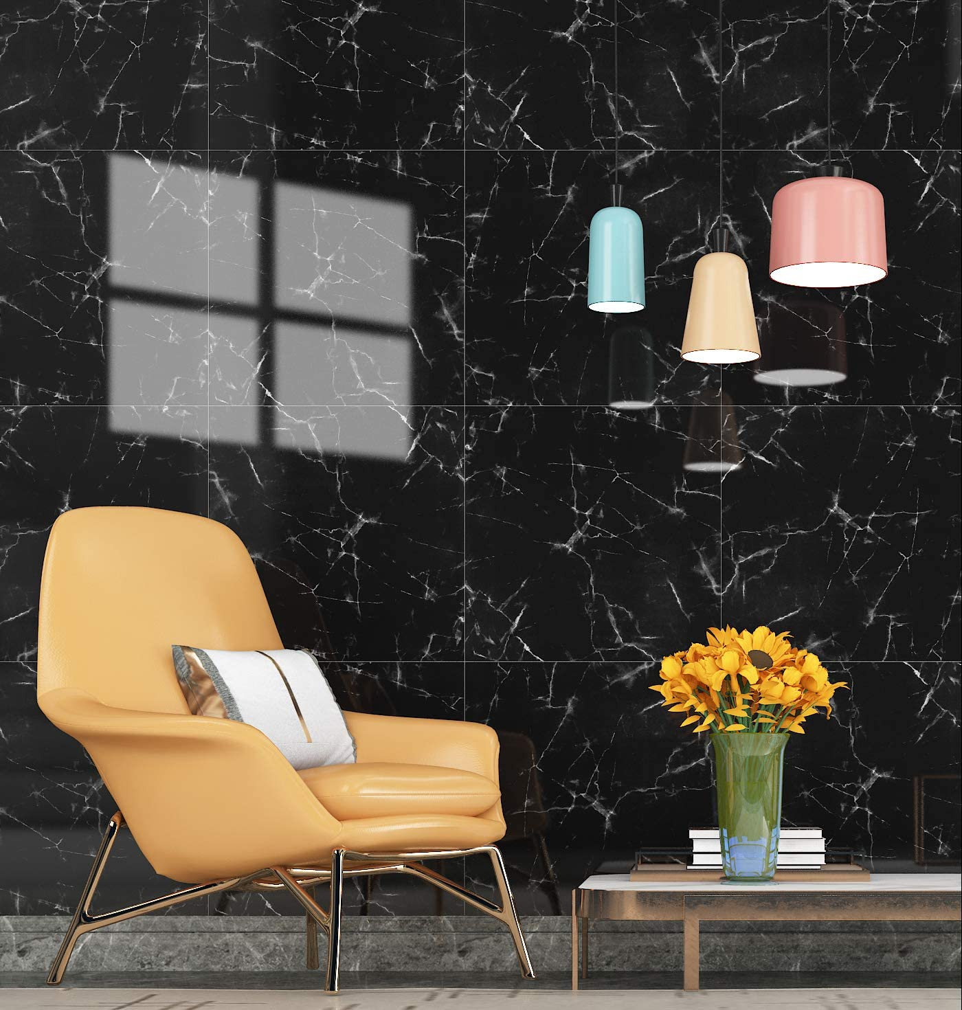 YENHOME 6 Pcs Waterproof Marble Wall Tiles 11.8
