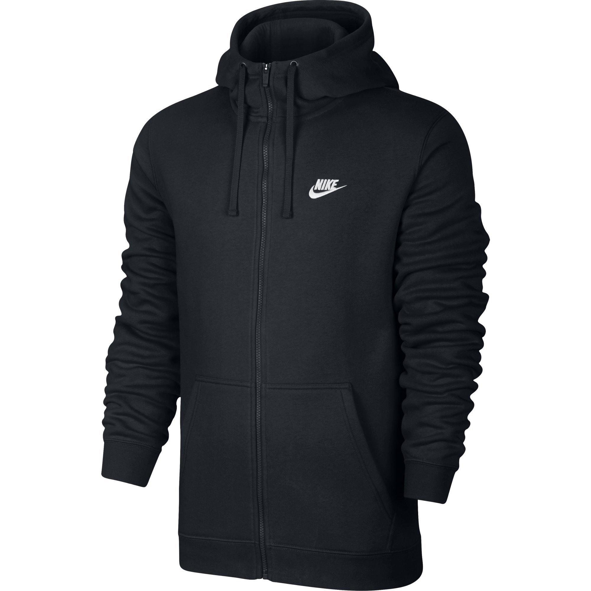 NIKE Sportswear Men's Full Zip Club Hoodie, Black/Black/White, X-Large