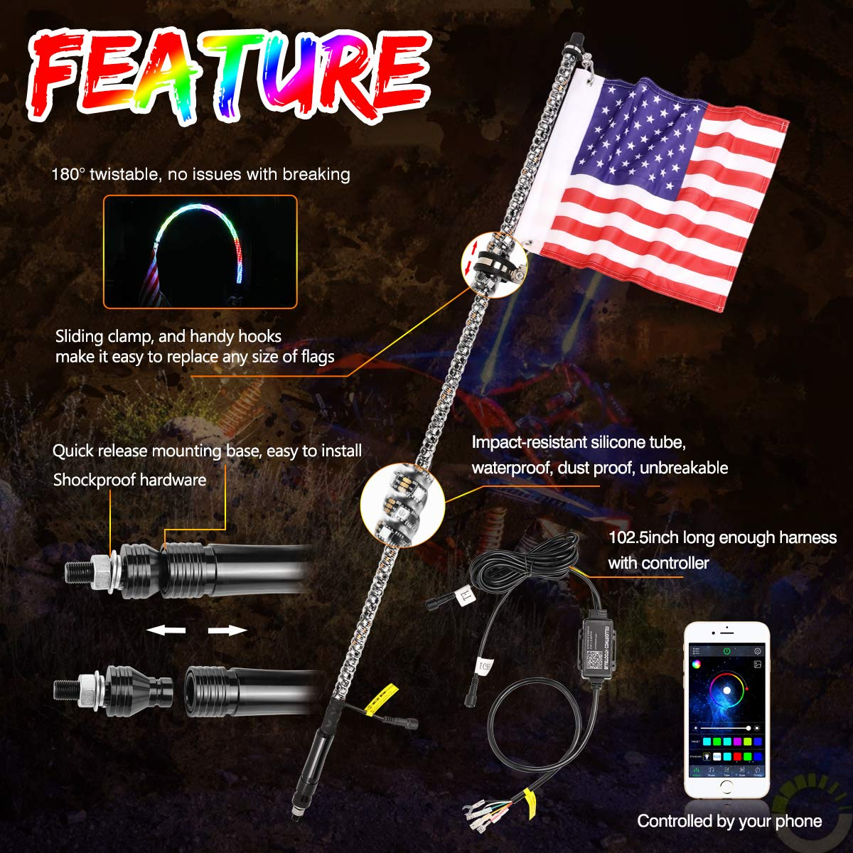 2Pcs 5ft LED Whip Lights with Turn//Brake Light SWATOW INDUSTRIES Lighted Antenna Whip Spiral RGB LED Whip with Flag Dancing//Chasing Light Whip for UTV ATV RZR Truck Jeep 4 Wheeler Dune Buggy Boat