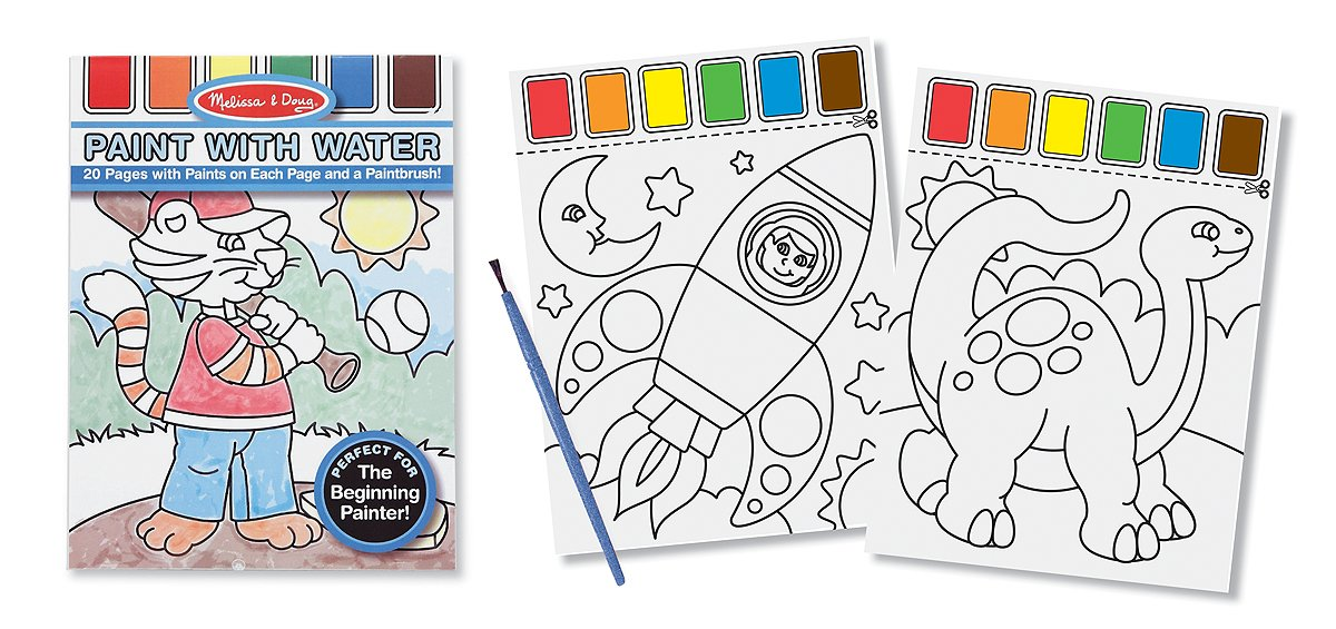 amazoncom melissa doug paint with water kids art pad with paintbrush sports playtime circus and more melissa doug toys games