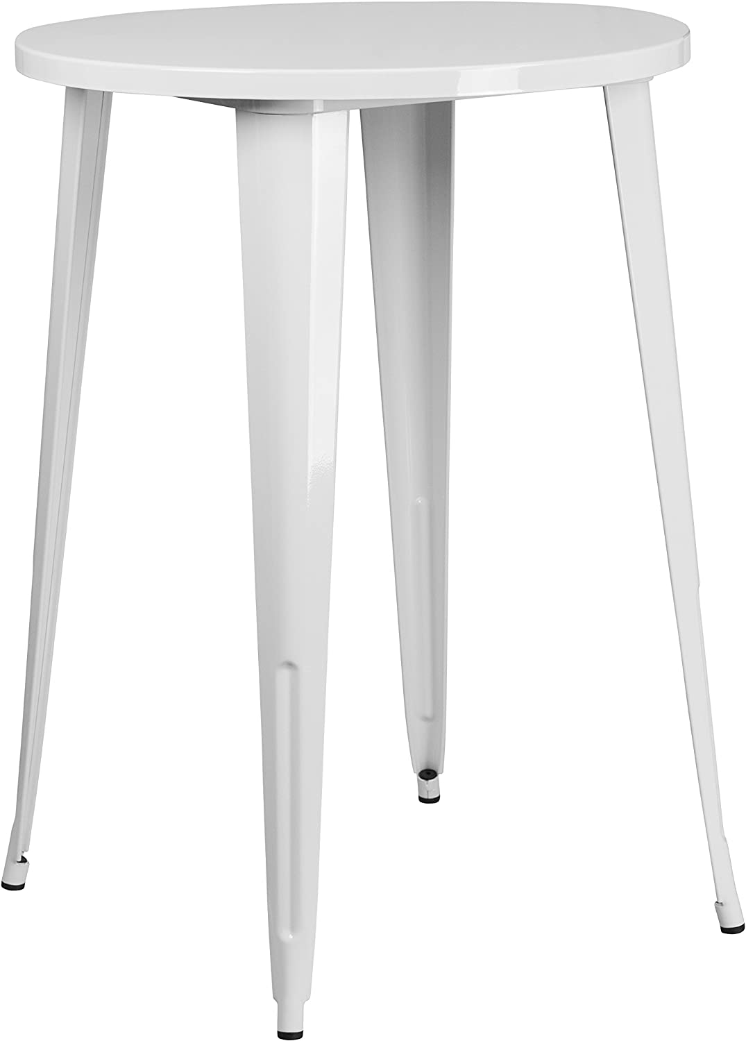 Flash Furniture 30'' Round White Metal Indoor-Outdoor Bar Height Table