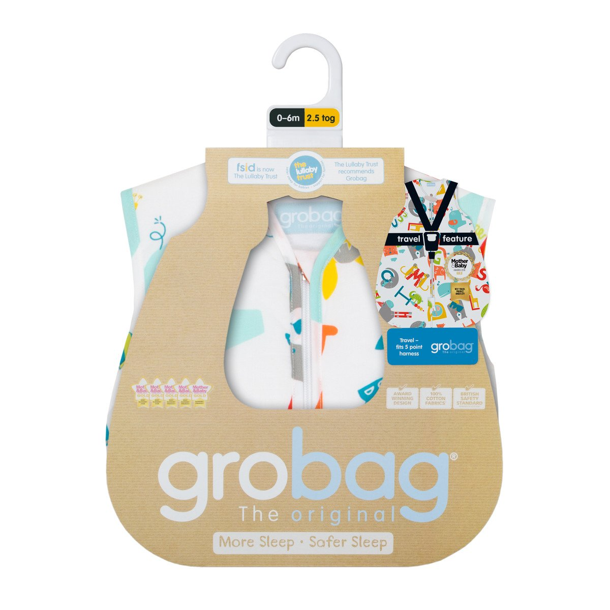 Grobag Travel Baby Sleeping Bag - E is for Elephant 2.5 Tog (18-36 Months) by grobag (Image #3)