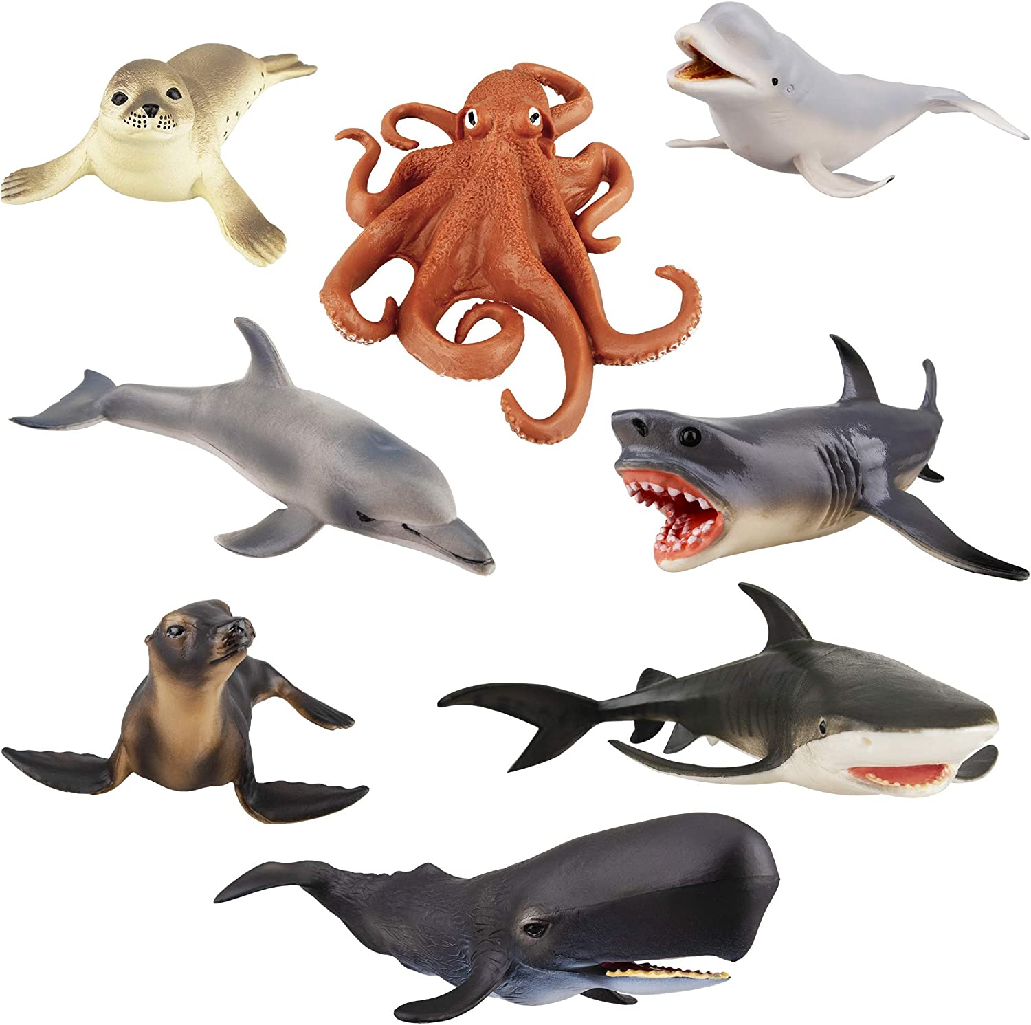 "TOYMANY 8PCS 4-8"" Large Sea Ocean Animals Figurines Bath Toy, Plastic Shark Whale Animals Figures Set Includes Beluga Whale,Sharks,Dolphin, Baby Shower Toy Cake Toppers Birthday Gift for Kids Toddlers"