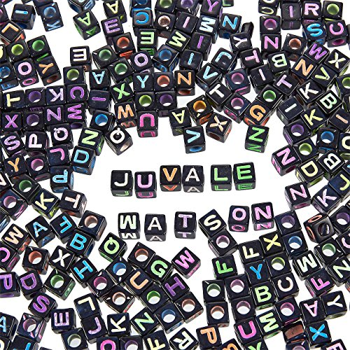 (Letter Beads - 1000-Count Alphabet Beads for Kids Jewelry Making, Bracelet, Necklaces, Multicolored Cube Beads, 0.25 x 0.25 x 0.25 Inches)