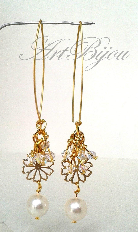 Pendientes Perlas y Cristal de Swarovski, Dorados, Largos, Boda, Modernos, Elegantes, Novia, Regalos para Ella, Regalo Mujer