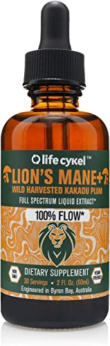 Life Cykel Lions Mane Mushroom with Australian Wild Harvested Kakadu Plum Liquid Extract – 2 fl oz. 30 Servings – 100 Focus and Clarity – Octane for The Brain – Improved Focus, Memory, REM Sleep