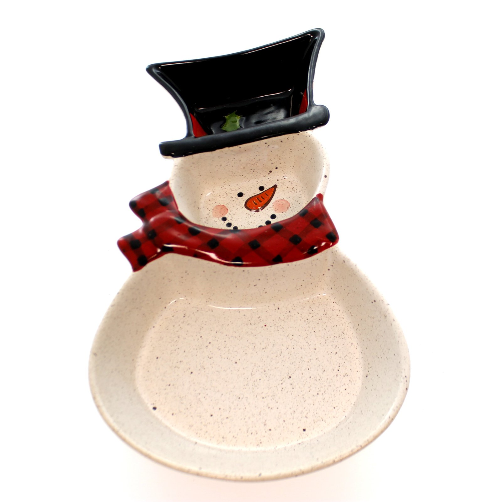 Christmas Snowman Ceramic Speckled 3 Section Relish Dish