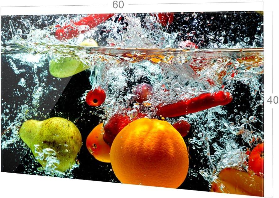 GRAZDesign Spritzschutz Glas f/ür K/üche 60x40cm Herd Bild-Motiv Fr/üchte im Wasser K/üchenr/ückwand K/üchenspiegel Glasr/ückwand