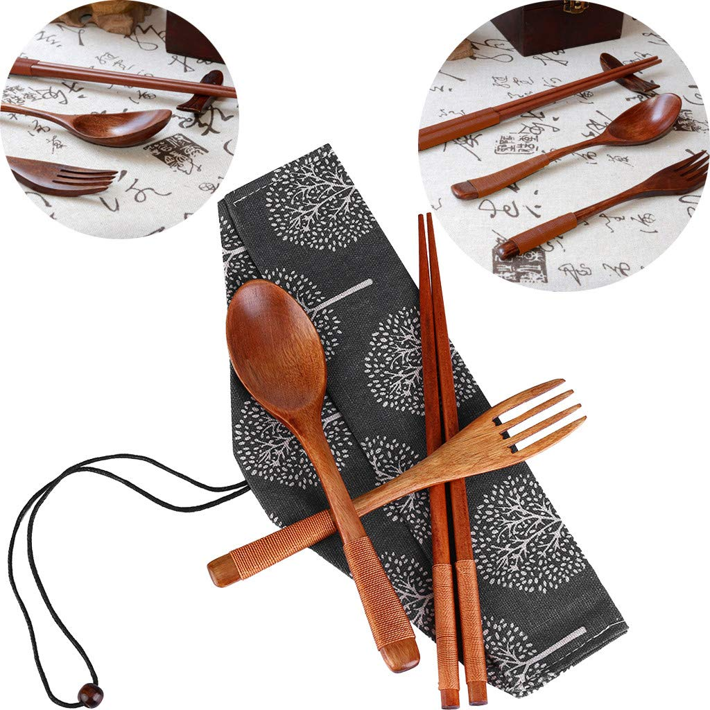 Chopsticks Spoon Fork Tableware 3pcs Set, LtrottedJ Japanese Vintage Wooden Chopsticks Spoon Fork Tableware 3pcs Set New Gift