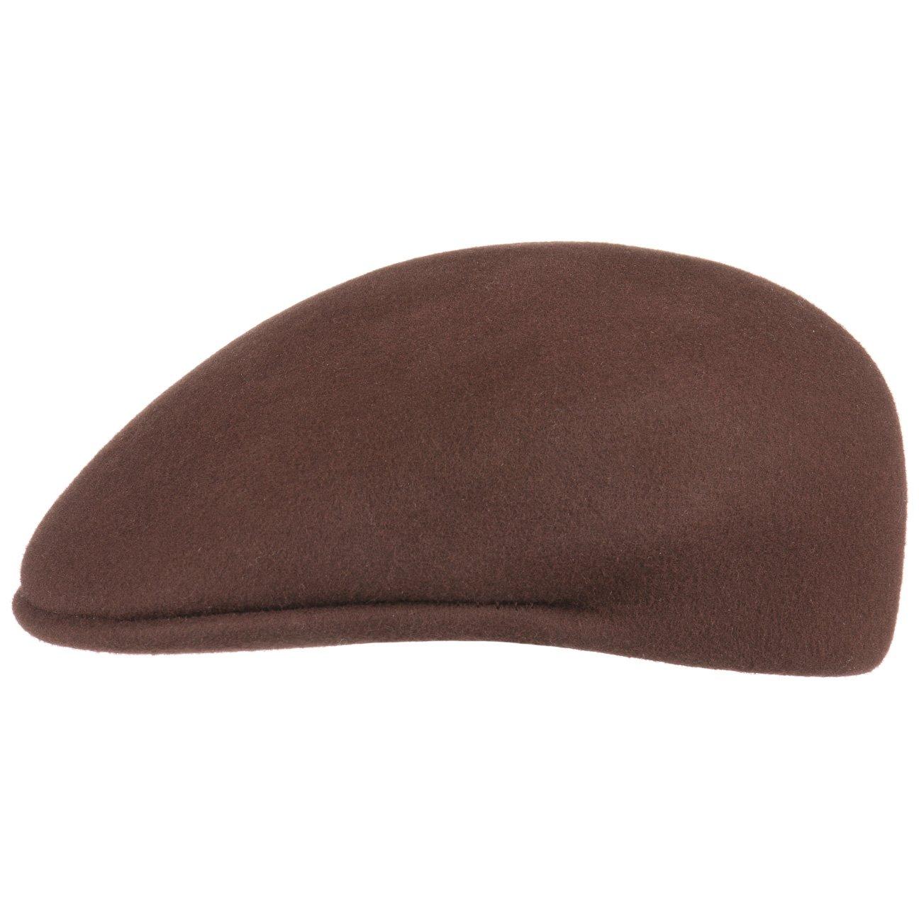 Lipodo Men's Felt Flat Cap - Italian-Made Ivy Cap - Wool Felt Peaked Cap - Cap with 3 cm Peak - Fall/Winter Flat Cap - Brown S (6 3/4-6 7/8) by Lipodo