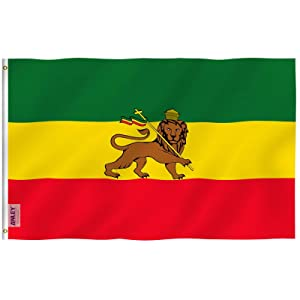 Anley Fly Breeze 3x5 Foot Ethiopia Flag with Lion - Vivid Color and UV Fade Resistant - Canvas Header and Double Stitched - Ethiopian Lion of Judah Flags Polyester with Brass Grommets 3 X 5 Ft