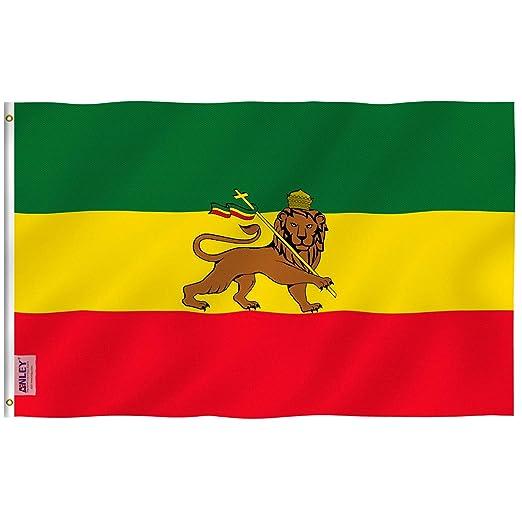 Anley Fly Breeze Bandera de Etiopía de 3x5 pies con león - Color vívido y Resistente a la decoloración UV - Encabezado de Lona y Doble Costura - Banderas del león etíope