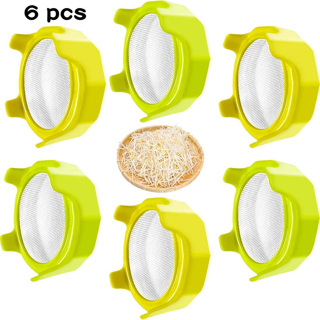 6 PCS Sprouting Lids with Stainless Steel Screen Plastic Sprouting Lids, for Wide Mouth Jars, Canning Jars, Suit for Grow Bean Sprouts, Salad Sprouts - Easy Rinse & Drain (4 Inch, Yellow, Green)