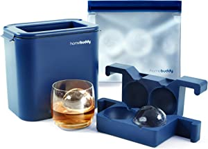 HomeBuddy Clear Ice Ball Maker - Silicone Ice Cube Maker, Ice Tray, Round Ice Mold for Sphere Crystal Clear 2.35 Inch Ice Balls - Enhance Your Whiskey, Cocktails, Lemonade