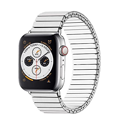 YOUKEX Compatible with Apple Watch Band 42mm 44mm Stainless Steel Stretch Watch Straps Replacement for Apple Watch Series 1 2 3 4 5 Silver Metal, No ...
