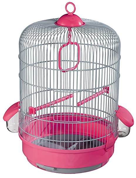 VOLTREGA Donato jaula de pájaros en rosa con base, color gris ...