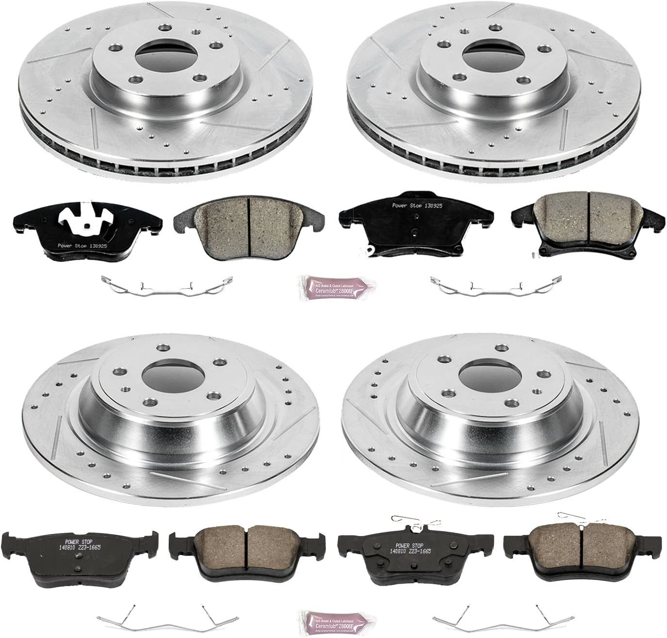 Power Stop K7898 Z23 Evolution Sport Rear Kit Rotors and Carbon-Fiber Ceramic Brake Pads