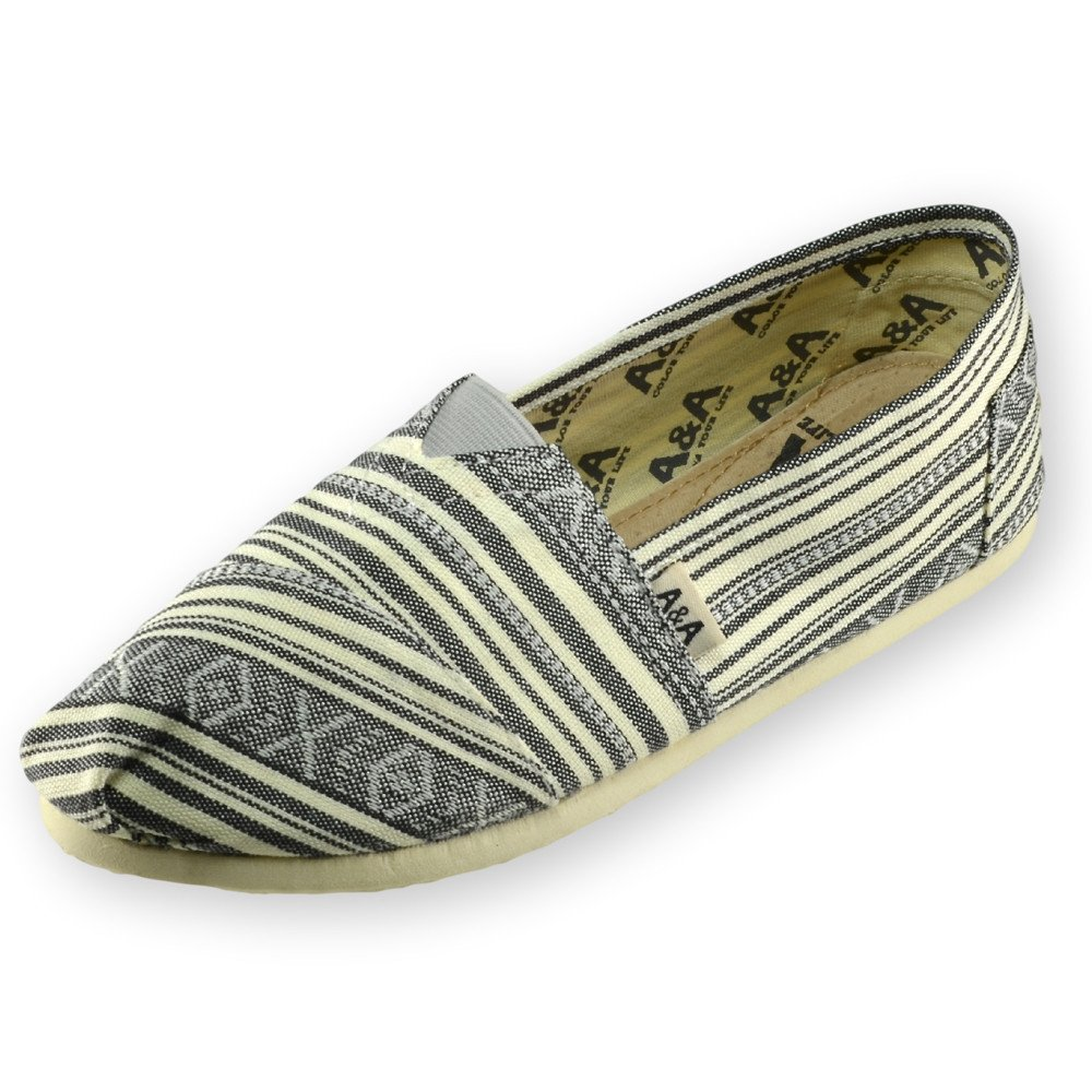 A&A Striped Gray Slip-on Casual Flats Canvas Shoes Alpargatas for Women (Etnie) US8