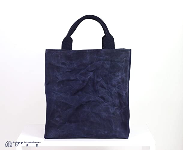 03aa777a8779 Amazon.com: Extra large waxed canvas reusable grocery bag cotton handle  deep large and durable carry all bag shopping bag daily tote bag hard bag  base: ...