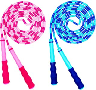 NEW YOUNG Jump Rope Soft Beaded Segment Skipping Free Segmented Tangle-Free for Keeping Fit Training Workout and Weight Loss Adjustable for Men Women and Kids 9 Feet 2 Pack (Blue/Pink)