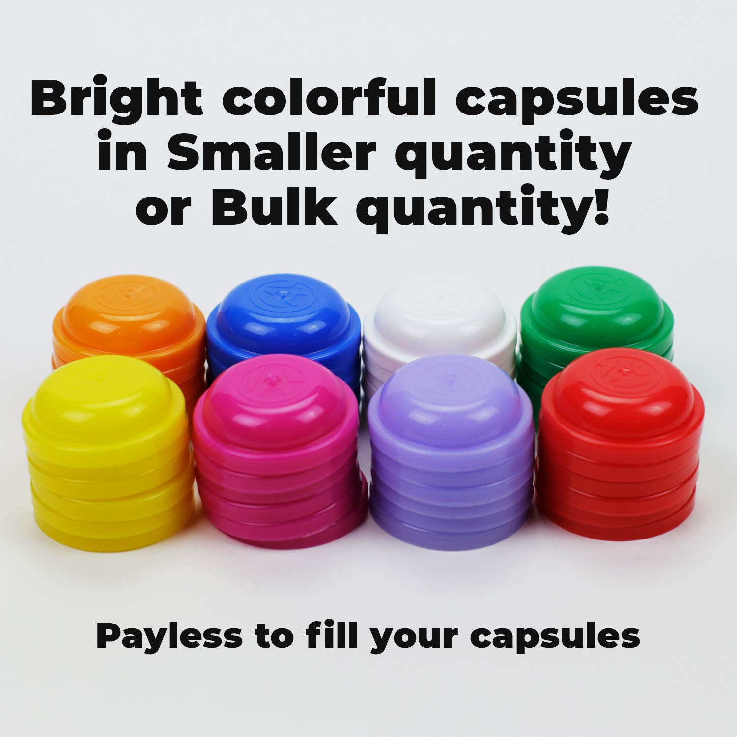 Toy Empty Capsules 1.1'' 2500 pcs Bulk 8 COLORS Acorn Capsule for Toy Gumball Machines Small Clear Containers Surprise for Kids Party Favor Prize Colorful Plastic Container Storage for Toys by Entervending (Image #4)