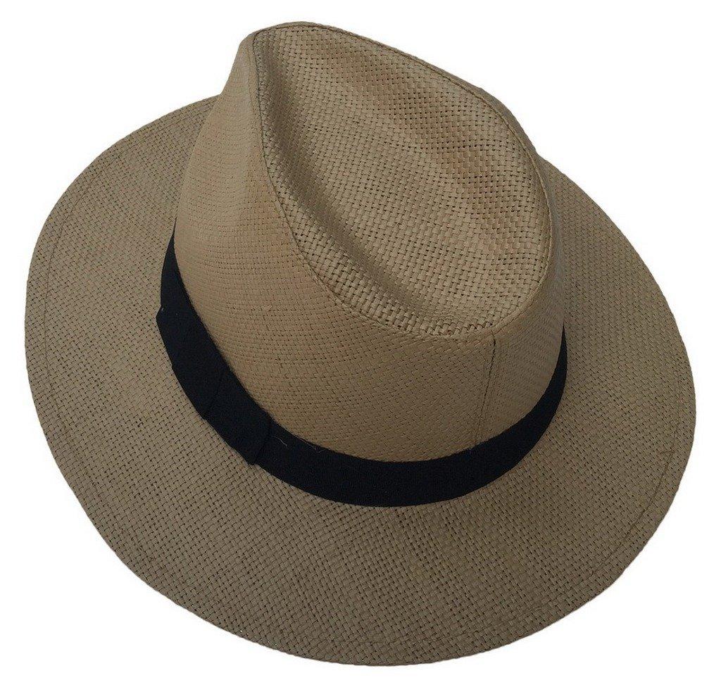 Toyobuy Men Women Hat Straw Fedora Hat Short Brim Brown Sun Hat