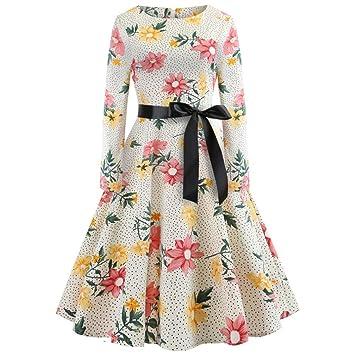 WWricotta Vestidos Mujer Mangas Larga Vintage Estampado de Flores Estilo Hepburn Casual Elegantes Playa Vestido de