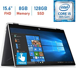 2019 HP 15.6-inch X360 2-in-1 Touchscreen FHD (1920x1080) IPS WLED-Backlit Display Laptop PC, 8th Gen Intel Quad-Core i5-8250U, 8GB DDR4 RAM, 128GB SSD, Bluetooth, HDMI, B&O Play, Windows 10