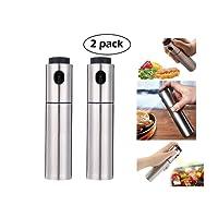 Stainless Steel Oil Vinegar Sprayer Dispenser Spraying Bottle Mist for Cooking Paste, Salads, BBQ, Grill, Set of 2(100ml)