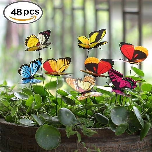 Flyfish Paquete de 48 mariposas de jardín en miniatura para decoración de macetas de flores: Amazon.es: Jardín