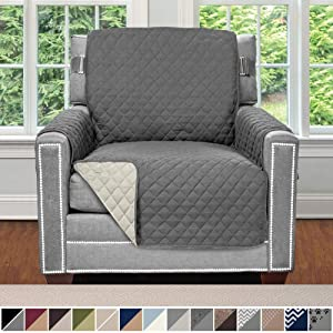 SOFA SHIELD Original Patent Pending Reversible Chair Slipcover, 2 Inch Strap Hook, Seat Width Up to 23 Inch Machine Washable Furniture Protector, Slip Cover Throw for Pets, Kids, Chair, Charcoal Linen