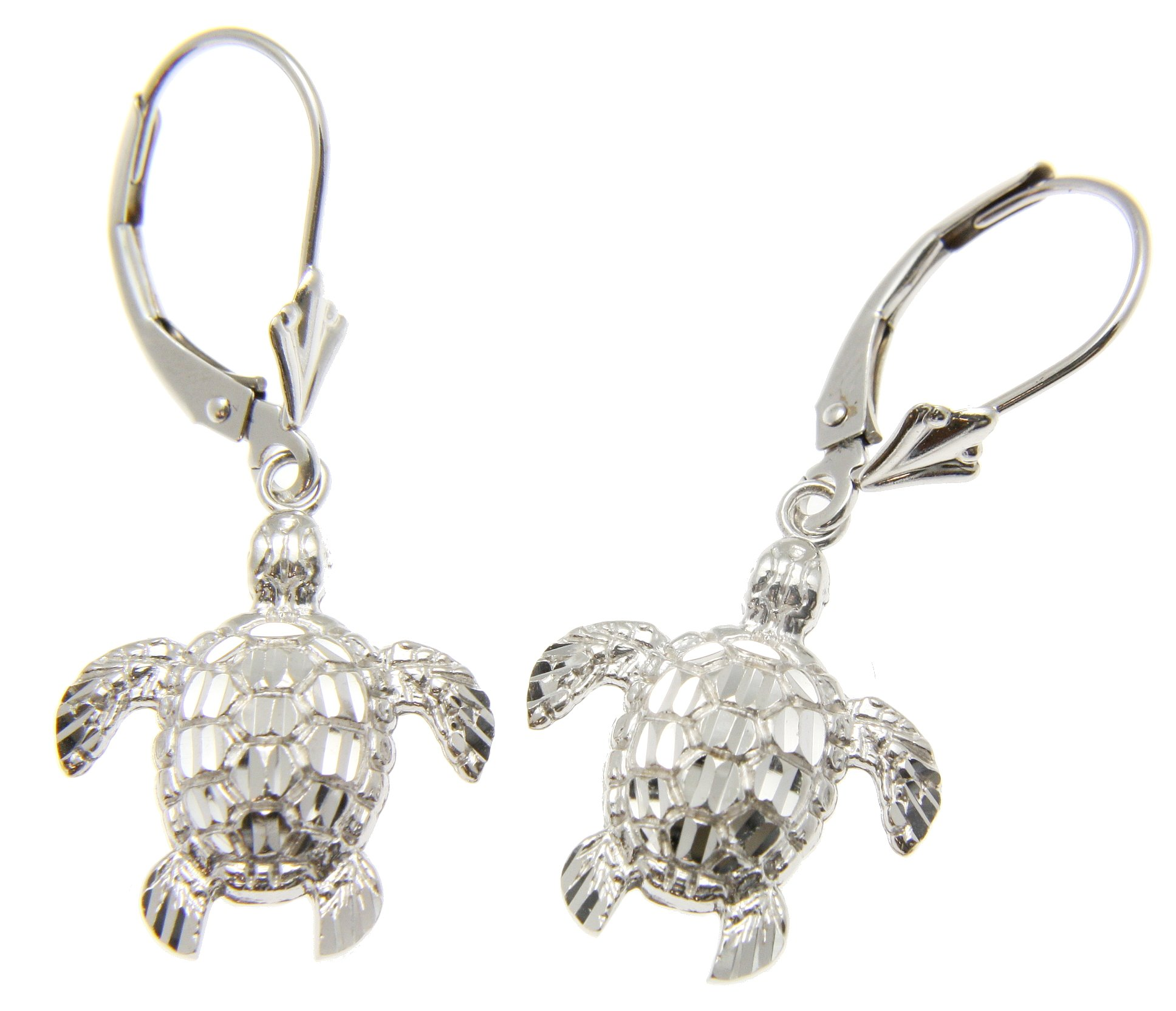 14K white gold diamond cut Hawaiian 14mm sea turtle honu leverback earrings