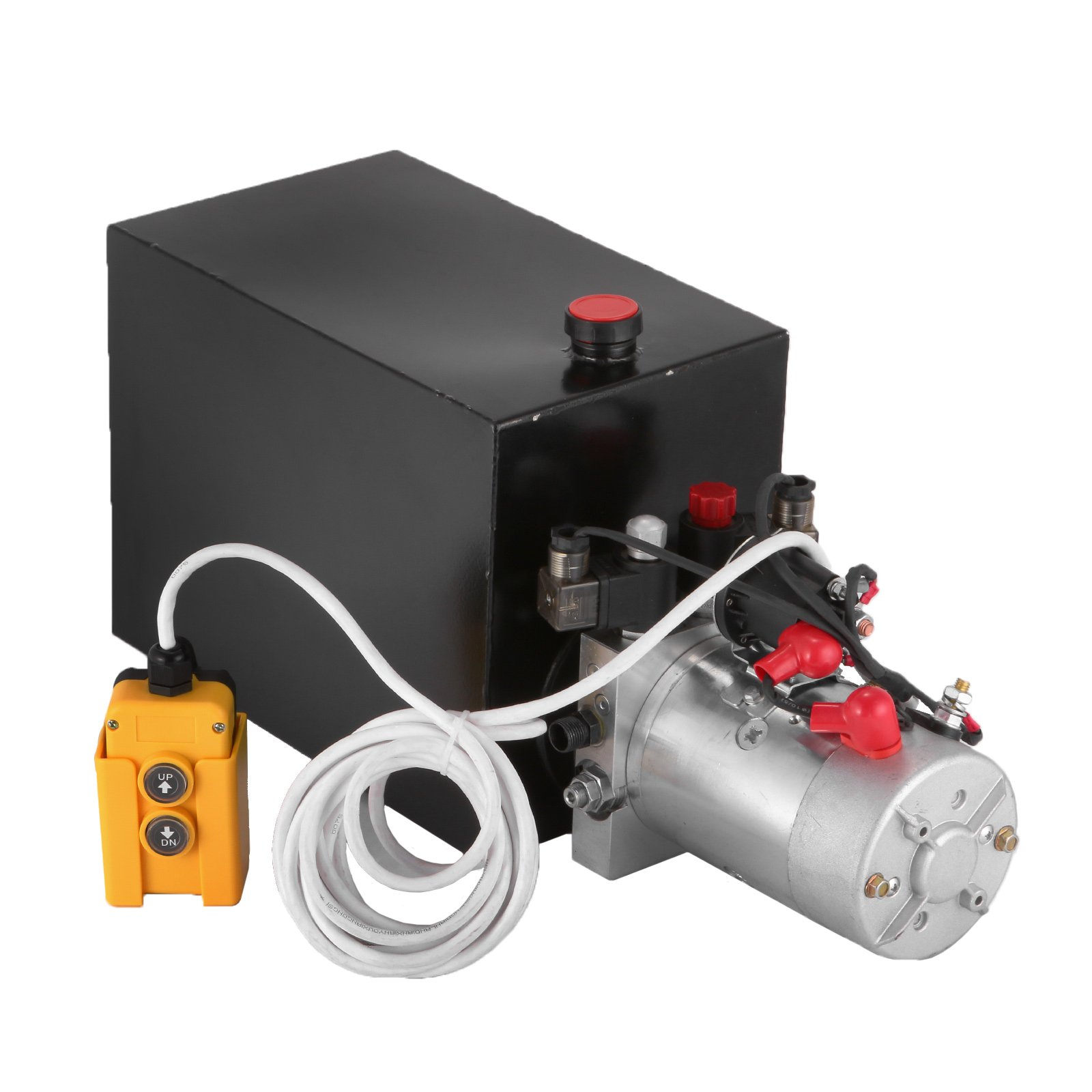 Mophorn 12V/DC Hydraulic Pump Double Acting 15 Quart Metal Reservoir Hydraulic Pump Unit W/ Remotely Controlled Hydraulic Power Unit for Dump Trailer