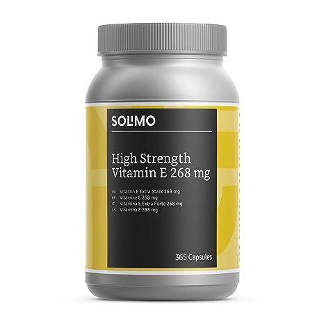 Marca Amazon - Solimo Complemento alimenticio a base de vitamina E 268 mg, 365 cápsulas