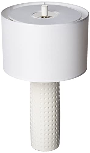 Lite Source LS-21979WHT Table Lamp with White Fabric Shades, 24.5 x 13.75 x 13.75 , White