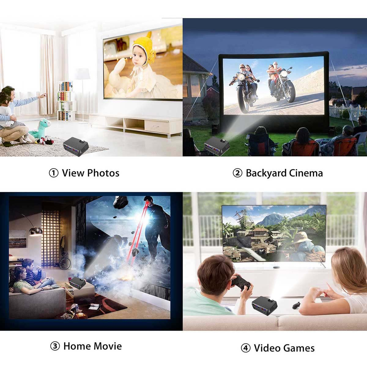 ExquizOn 2018 New Updated Mini Video Projector, 30% Lumens Brighter, New Smart Phone Mirror Function by Lighting or Micro USB Cable, 1800 Lumens Home Theater HDMI USB VGA AV TF (Gt-S9)