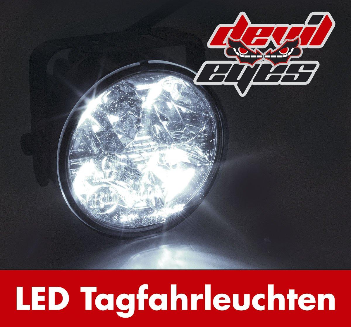 Devil Eyes 610759 LED Daytime Running Lights Round ECE R87 2x4 LEDs